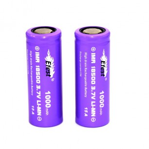 Accus Efest Purple IMR 18500 - 1000 mAh - 15 A - Flat Top